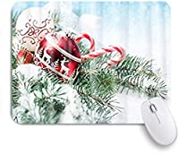 MISCERY マウスパッド スノーフレーククリスマスボールパインブランチ 高級感 おしゃれ 防水 端ステッチ 耐久性が良い 滑らかな表面 滑り止めゴム底 24cmx20cm