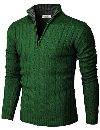 H2H Mens Casual Slim Fit Pullover Sweaters Mock Neck Zip up Various Patterned Green US M/Asia L (CMOSWL040)