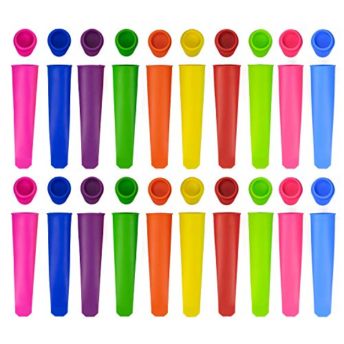 Tebery 20 Stück Silikon-Formen für Eis am Stiel, Eis am Stiel mit Deckel, Silikon-Eiswürfelformen-Set für Eis am Stiel oder wiederverwendbar (bunt)