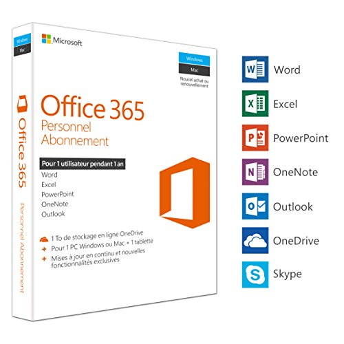 Office 365 Personnel Abonnement - 1 an / 1 Pc ou Mac + 1 tablette - Clé de produit