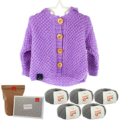 MyOma Babyweste Strickset-DIY Cardigan Sternschnuppe grau-Weste Stricken - DIY Strickset Baby 5 Knäuel Merino Baby Wolle in grau-Strickanleitung+GRATIS Label - Baby Stricken Anleitung