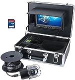 YUKM Tragbarer 100m Fischfinder, 9-Zoll-Monitor, DVR-Recorder, IP68 wasserdicht 20 LEDs rotierende...