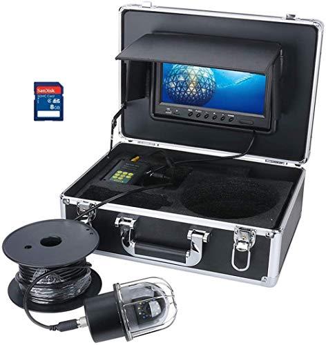 YUKM Tragbarer 100m Fischfinder, 9-Zoll-Monitor, DVR-Recorder, IP68 wasserdicht 20 LEDs rotierende Kuppel-Panorama-Ansicht Unterwasser-Fischerei-Videokamera