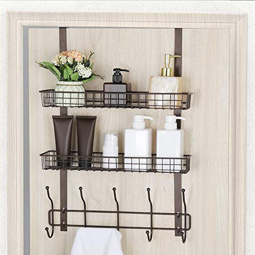 Coat Hook Metal Storage Rack with 2 Baskets & 5 Hooks Over The Door Organizer Decorative for Office, Bathroom, Bedroom