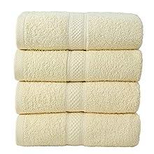 Todd Linens Juego de toallas de mano de 4 piezas, 500 g/m², 100% algodón, para baño de invitados, niños, armario (crema, juego de 4 toallas de mano)