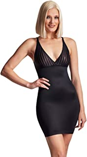 LaSculpte Women Open Bust Plunge V Neck Low Back Full Slip Shapewear Under Dresses Tummy Control Full Body Shaper, Black, ...