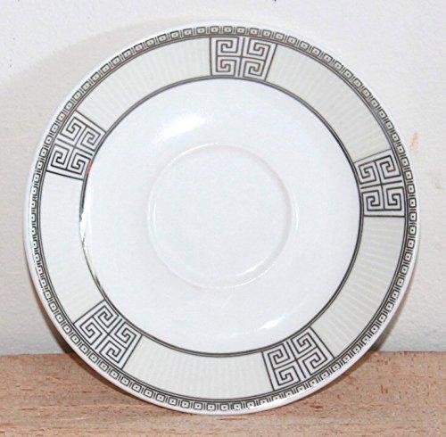 AAF Nommel®, Unterteller Teller für Teetasse Weiss mit edel schwarz weissen Ornamenten 12 cm Durchmesser, Porzellan, Nr. 004
