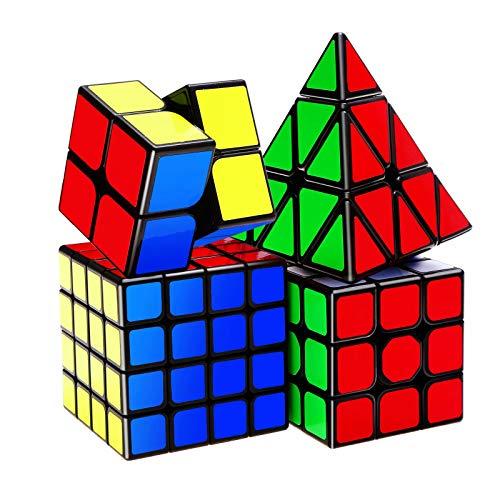 ROXENDA Speed Cube Set - Cubos de Velocidad de 2x2 3x3 4x4 Pirámide Qiyi Cube - Fácil Giro & Juego Suave, 4 Pack
