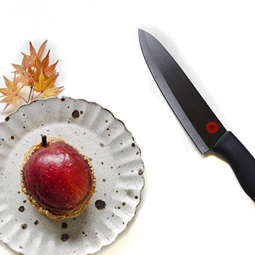 Kikusumi 6-Piece Chef Knife Gift Set Bundle -SUMI Black Handle + Black Ceramic Blade - 7 inch Chef Knife + 5.5 inch Santoku + 5 inch mini Santoku + 4 inch Paring + 3 inch Paring + 6 Sheath (Black)