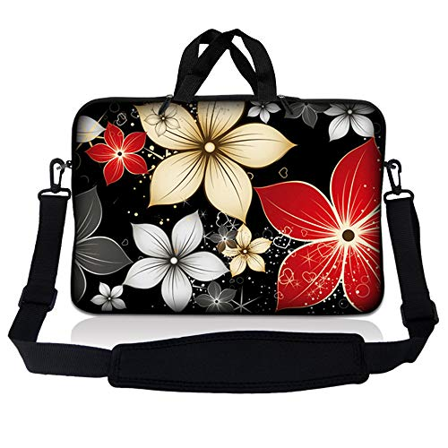 LSS 15.6 inch Laptop Sleeve Bag Compatible with Acer, Asus, Dell, HP, Sony, MacBook and more   Carrying Case Pouch w/ Handle & Adjustable Shoulder Strap, Black Gray Red Flower Leaves