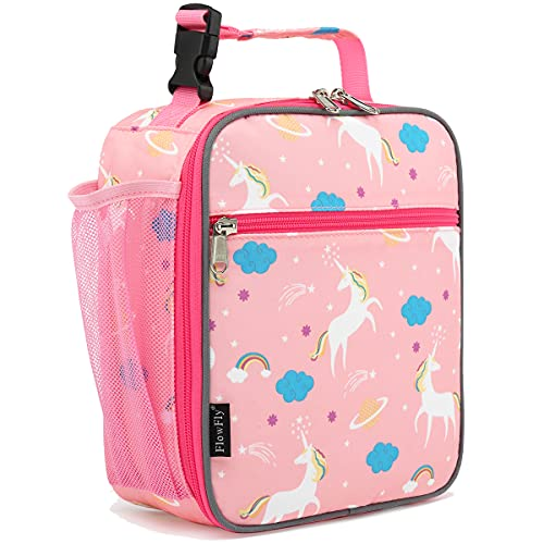 FlowFly Kids Lunch box Insulated Soft Bag Mini Cooler Back to School Thermal Meal Tote Kit for Girls, Boys, Unicorn