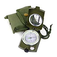 PROFESSIONAL GRADE: This professional grade military compass will always lead you in the right direction. Ideal for camping, military usage, emergencies, and anywhere the beaten track takes you ERGONOMIC DESIGN: The lensatic function increases the re...