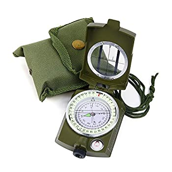 Sportneer Military Lensatic Sighting Compass with Carrying Bag Waterproof and Shakeproof Army Green