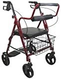 Karman Healthcare R-4602-T-BD Aluminum 2-in-1 Rollator/Transport, Burgundy, 8' Casters