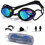 NEWXLT Swimming Goggles, Adjustable Swim Goggles Anti Fog UV Protection Triathlon with Free Protection Case Ear Plug Nose Clip & Protective Case for Women Men Adult Youth Kids (8+)-Black2019