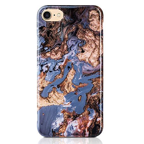 QULT Carcasa para Móvil Compatible con iPhone 6 Plus/ 6S Plus Funda marmol Azul Silicona Flexible Bumper Teléfono Caso para iPhone 6/6S Plus Marble Blue
