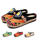 Zuecos para Mujer, Zapatos Casuales de Lona Encaje con Colores Caramelo, Arte Multicolor Pintado, Primavera Verano, Cómodas Zapatillas Antideslizantes Caminar en la Playa Negro 40 EU