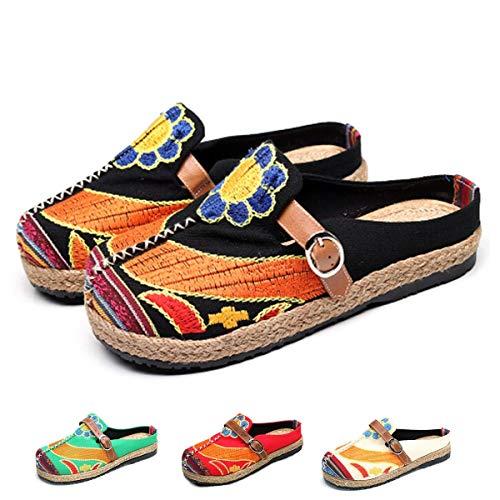 Zuecos para Mujer, Zapatos Casuales de Lona Encaje con Colores Caramelo, Arte Multicolor Pintado, Primavera Verano, Cómodas Zapatillas Antideslizantes Caminar en la Playa
