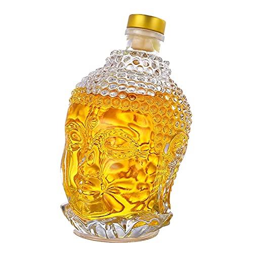 Botella de Vidrio de 750ML Estatua de Buda Botella de Agua de Cristal Copa de Vino para Vodka Whisky Bebidas Vasos Boda