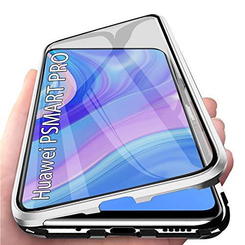 TVVT Funda Magnetica Compatible con Huawei P Smart Pro Carcasa, Adsorción Magnética Funda Ultra-Delgado Transparente Vidrio Templado 360 Grados con 2en1 Mezclar Rígido Marco de Metal - Plata