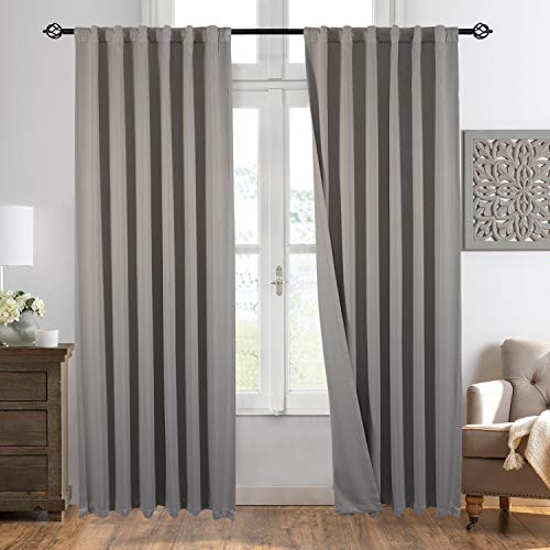 """Gray Blackout Window Curtain Panel Pairs 84"""" for Bed Room Darkening and Thermal Insulation Soft Silky Window Treatment Drapes Rod Pocket with Backtabs, 2 Tie Backs (2 Pk, 52x84 Inch, Grey)"""