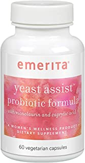 Emerita Yeast Assist Probiotic Formula | Vaginal, Intestinal & Gut Wellness Support for Women | 30 Serv | 60 Capsules