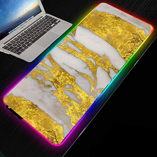 Golden Marble Illumination RGB Colorful Gaming Large Mouse Pad Gamer Led Computer Mousepad PC Desk Play Mat with Backlit 300x600mm