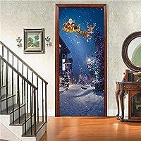ドアステッカードアデカール3D クリスマスの装飾の壁紙のポスタークリスマスの家の装飾の壁画のドアのステッカー