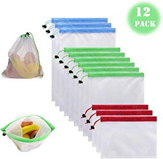 Reusable Produce Bags, 12 Pieces Mesh Bags Set Lightweight Eco-Friendly Grocery Bags Small Medium Large Sizes Fruit Vegetable Sandwich Toys Shopping Storage Recyclable Washable Net Bags