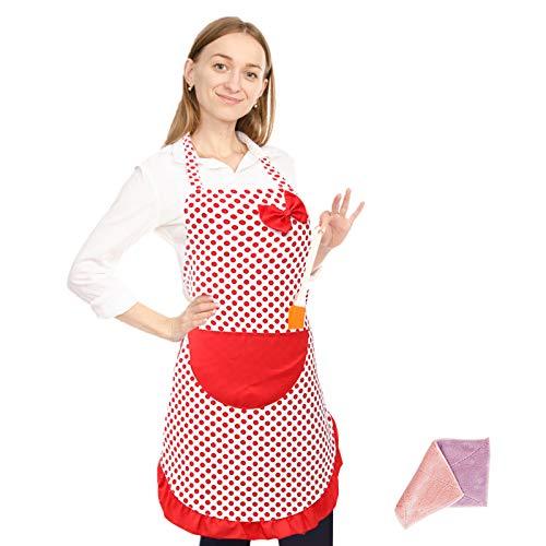 SwirlColor Backschürze Frauen im Teenageralter Dünne Frauen Küche Wischbar Niedlich Polka-Dot Schürze Wasserdicht Backen Koch Leinwand Schürze mit Reinigungstuch