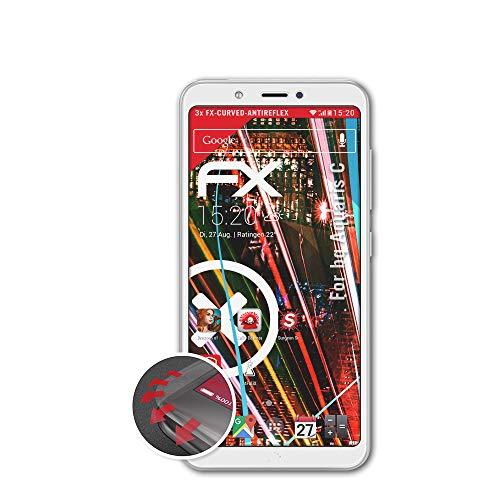 atFolix Schutzfolie kompatibel mit bq Aquaris C Folie, entspiegelnde & Flexible FX Bildschirmschutzfolie (3X)