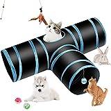 hyselene tunnel gatto,tubo a tunnel pieghevole a 3 vie con pompon e campanelle piuma,utilizzato per tunnel per gatti interni ed esterni per gatti,conigli, cani,animali domestici