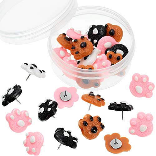25 Pieces Paw Print Push Pins Animal Paw Thumb Tacks Decorative Pushpins for Cork Boards Home and Office (Color 2)