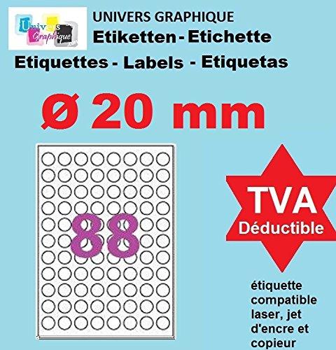 20 A4 foglio di carta 88 tondo 88 millimetri etichetta rotonda delle etichette autoadesive 20 adesivo per getto d'inchiostro e stampanti laser