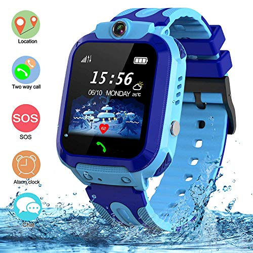 SZBXD Kids Waterproof Smart Watch, GPS Tracker Phone SOS Anti-Lost Alarm Sim Card Slot Touch Screen Voice Chat Smartwatch Birthday for Children Girls Boys (Blue)