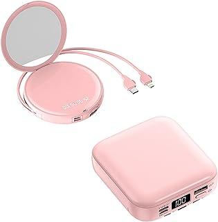 Mini 20000 mAh skönhetsspegel med kabel, snabbladdande powerbank, powerbank,Pink,Rond