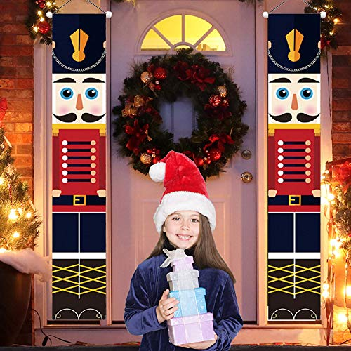 Nutcracker Christmas Decorations,Nutcracker Banners, Soldier Model Nutcracker Porch Signs - Xmas Decor Banners for Indoor Outdoor, Home, Wall, Front, Door, Apartment Party