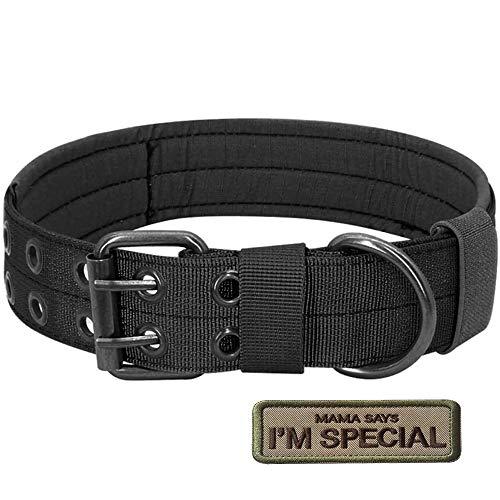 Collier militaire tactique pour chien en nylon réglable S.Lux avec boucle en D en métal pour dressage des chiens – Collection classique de couleur unie