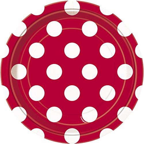 Unique Party-Paquete de 8 platos de papel a lunares, color rojo, (37494)