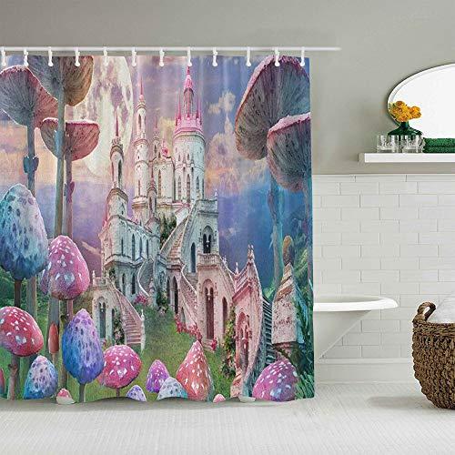 MANISENG Duschvorhang aus Polyestergewebe,Buntes Feen-Pilz-Retro-Schloss,mit 12 dekorativen Badvorhängen aus Kunststoffhaken 72 x 72 Zoll