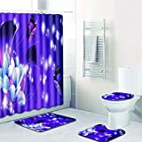 YXZN 4-teiliges Duschvorhang-kit, Rutschfester Teppich, Polyester, Rosa Einhorn-duschvorhang, Antibakteriell, Wasserdicht, Schimmelresistent
