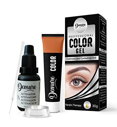 Demure Color Gel Augenbrauen- und Wimpernfarbe 30g, Professional Formula Augenbrauen- und Wimpernfarbstoff-Kit mit Keratin-Komplex für optimale Festigkeit, Glanz und Farbe (1.0 Schwarz)