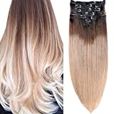 18 Inch Clip in Hair Extensions Ombre Hair 140g 8 Pieces #2 Dark Brown Fading to #6 Chestnut Brown and Ash Brown Full Head Thick Long Soft Silky Straight 20 Clips Hair for Women/Ladies/Girl