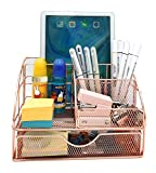 Rose Gold Desktop Storage Box with Drawers, Mesh Desk Organizer and Accessories, Used for Home, School, Cosmetics Desktop Organization and Decoration (Rose Gold)