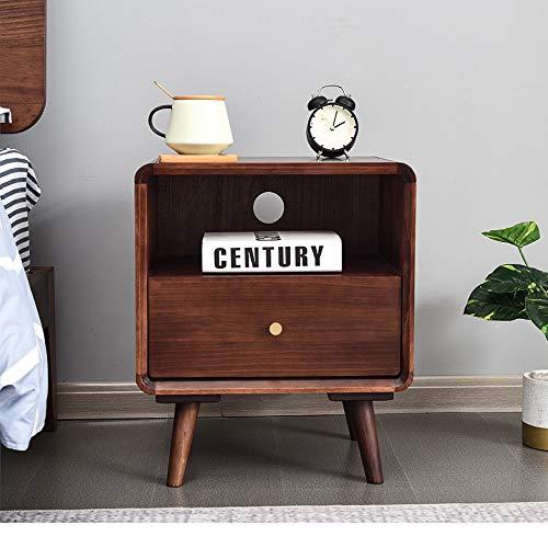 Dfghbn Mesita de noche, mesita de noche, mesa auxiliar de madera, armario de almacenamiento, mesa auxiliar multifuncional, mesitas de noche (color: marrón, tamaño: 50 x 35 x 43 cm)