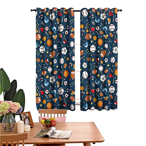 Blackout Curtains for Living Room- Warm Curtain Many Basketball Baseball and Football Icons Champ Gloves Dark Background Multifunctional Power Off Curtain Set of 2 Panels W55 x L45