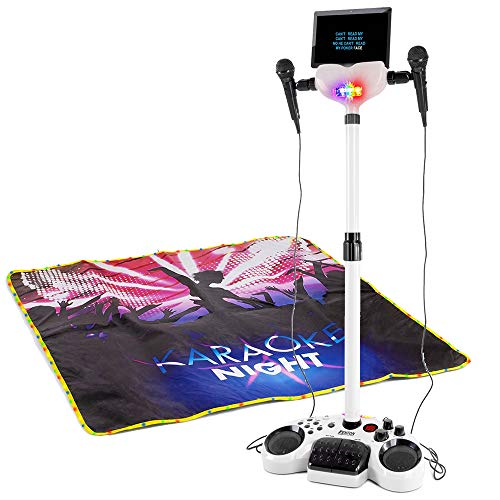 Karaoke maskin och Karaokeset FENTON KSM15W med stativ Komplett sångpaket FENTON KSM15W Karaoke partyscen set vit med ljus och scenmatta