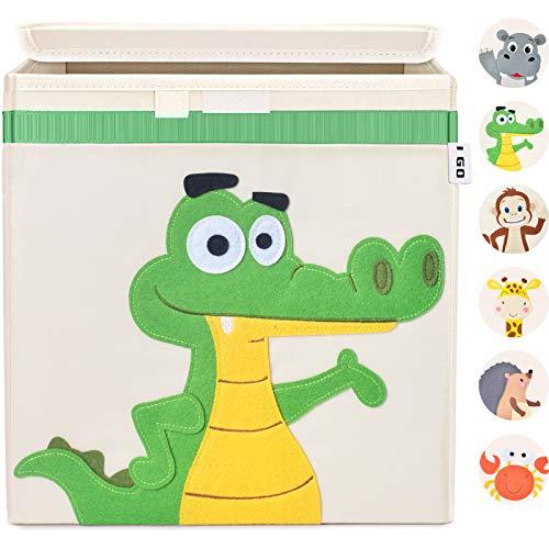 I GO Caja de almacenaje caja de juguetes para niños con tapa para estantería habitación infantil 33x33x33cm, cocodrilo