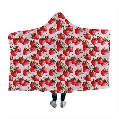 Wearable Sleeping Blankets Red,Juicy Strawberries Fruit Throw Lightweight Soft Blankets 60 x 50 Inch