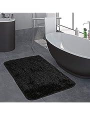 Modern Hoogpolig Badkamervloerkleed Effen Badmat Anti-Slip In Zwart